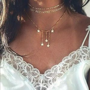 Gold Multilayer Star Drop Choker Necklace